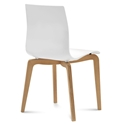 Domitalia Gel-L Side Chair in White + Light Oak