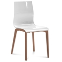 Domitalia Gel-L Side Chair in White + Walnut