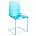 Gel-Sl Modern Blue + Chrome Dining Chair by Domitalia