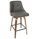 Gemini Modern Walnut + Gray Counter Stool