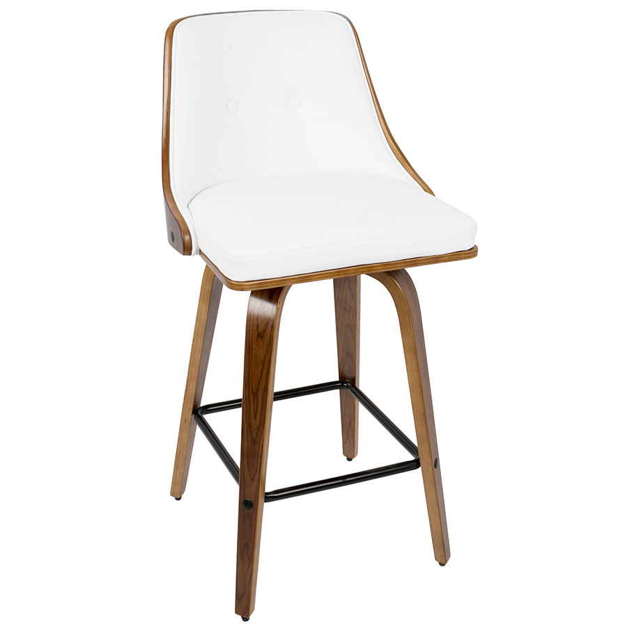Gemini Modern Walnut + White Counter Stool