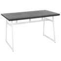 Gerald Industrial Modern Dining Table in White + Espresso