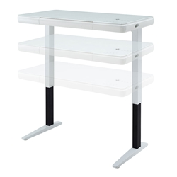 Gernsbach Glossy White Modern Sit-Stand Desk With Bluetooth Speakers, USB and Wireless Charging