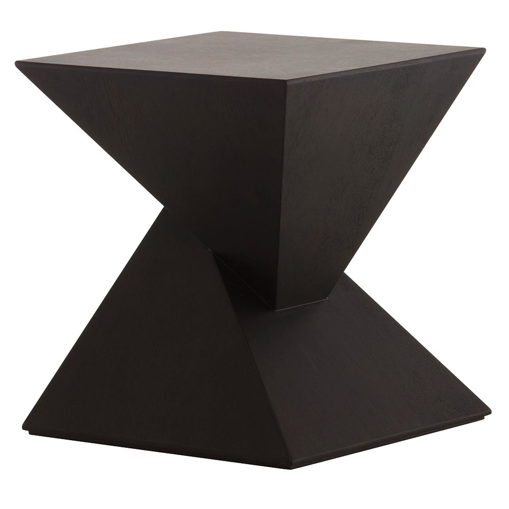 Gholson Black Wood Sculptural Modern Side Table