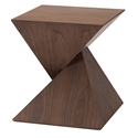 Giza Walnut Wood Contemporary Sculptural End Table