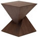 Gholson Walnut Wood Contemporary Sculptural End Table - Angle