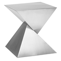 Giza Brushed Steel Sculptural Modern Side Table