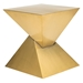 Gholson Gold Steel Sculptural Modern End Table - Angle
