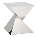 Giza Polished Steel Sculptural Modern Side Table