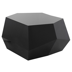 Gio Black Lacquered Geometric Contemporary Coffee Table by Nuevo
