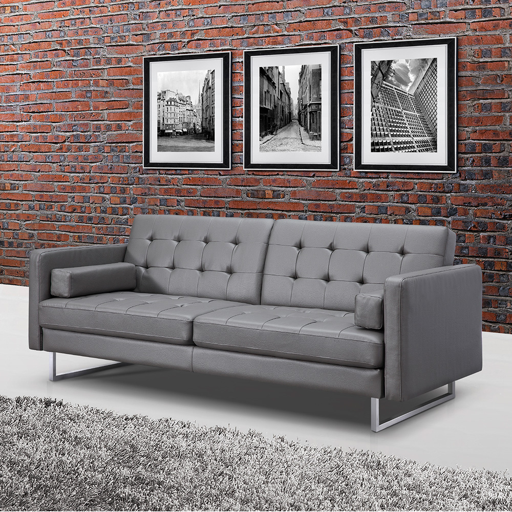 Giovanni Gray Faux Leather Sofa Bed By Whiteline Eurway