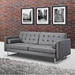 Giovanni Modern Gray Leatherette Sofa Bed