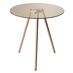 Girard Modern Copper + Glass Accent Table