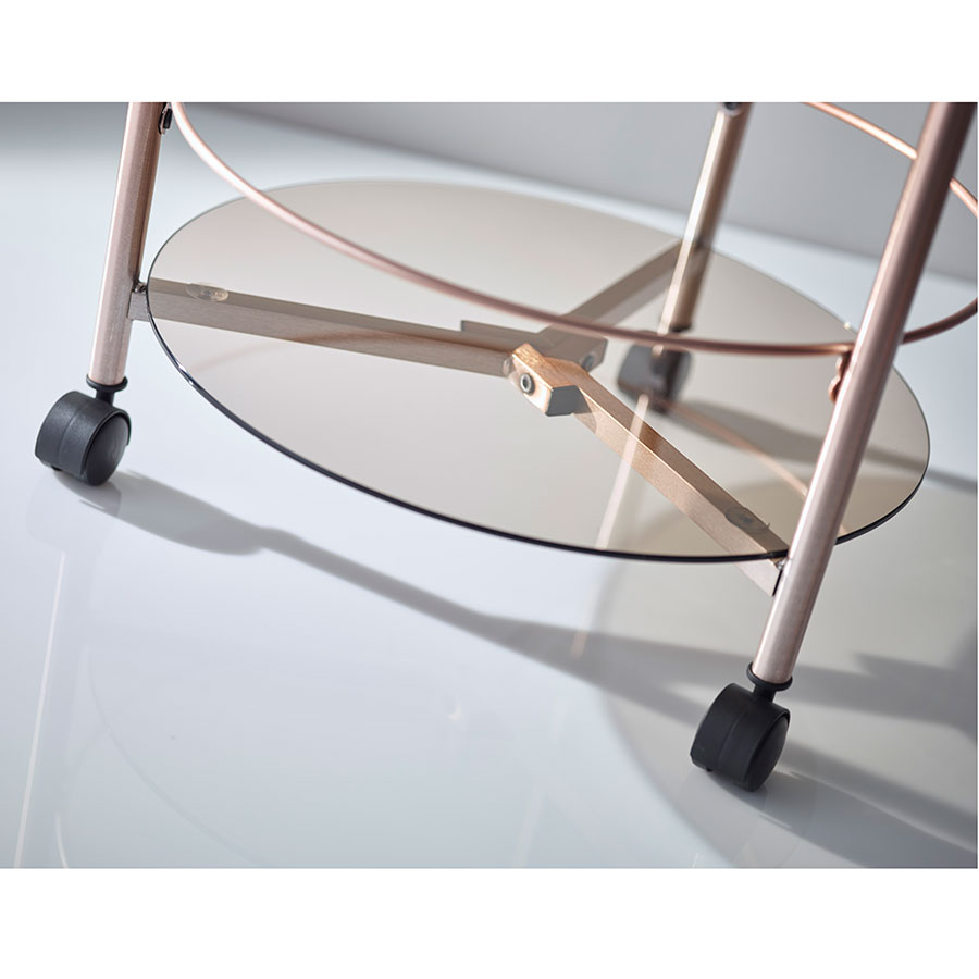 ... Girard Modern Copper Rolling End Table   Casters