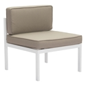 Girona White Aluminum + Tan Sunproof Fabric Outdoor Chair