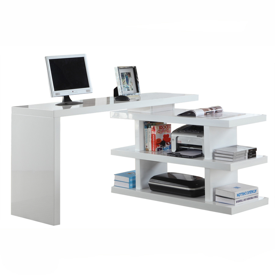 Glacier Modern Motion Desk + Shelving
