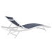 Glance Modern Navy + White Outdoor Chaise Lounge - Back View