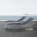 Glance Contemporary Navy + White Outdoor Chaise Lounge