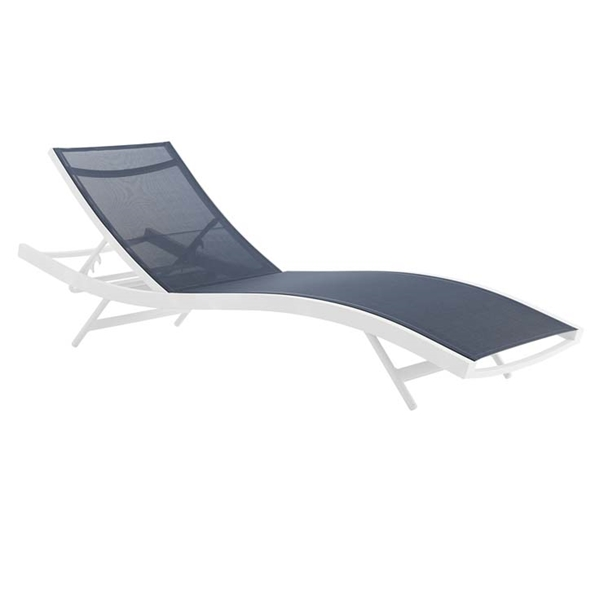 Glance Modern Navy + White Outdoor Chaise Lounge