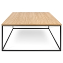 Gleam Oak Top + Black Metal Base Square Modern Coffee Table by TemaHome