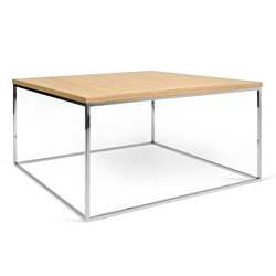 Gleam Oak Top + Chrome Base Square Modern Coffee Table