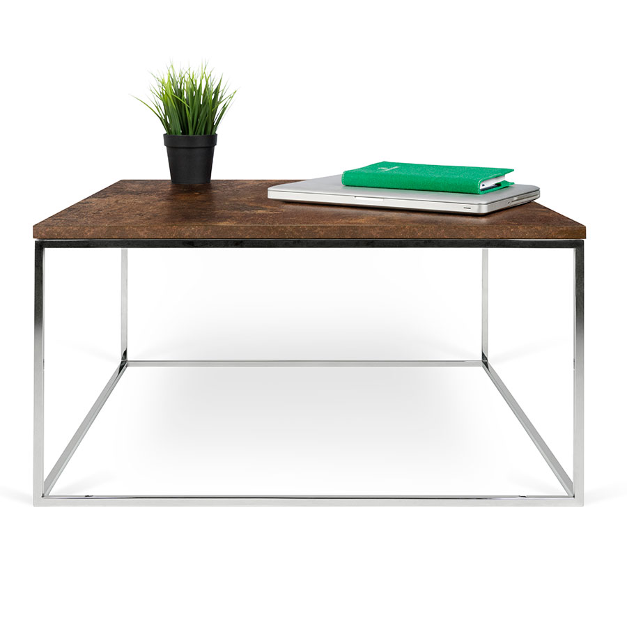 ... Gleam Rust Top + Chrome Base Square Modern Cocktail Table