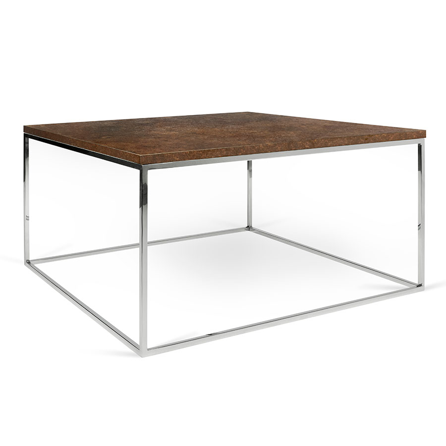 Stunning Teak And Chrome Contemporary Small Coffee Table: Gleam Rust + Chrome Modern Coffee Table By TemaHome