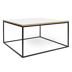 Gleam White / Ply Top + Black Base Modern Square Coffee Table