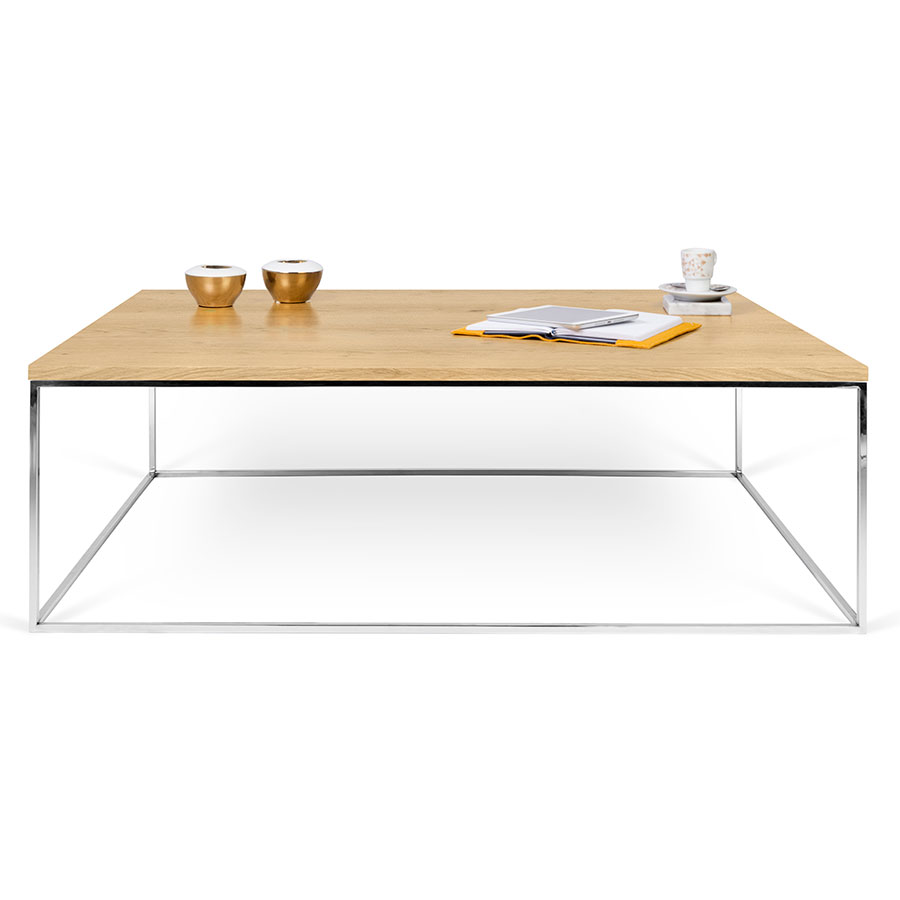 Gleam Oak + Chrome Long Modern Coffee Table By TemaHome