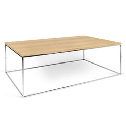 Gleam Oak Top Chrome Base Modern Rectangular Coffee Table