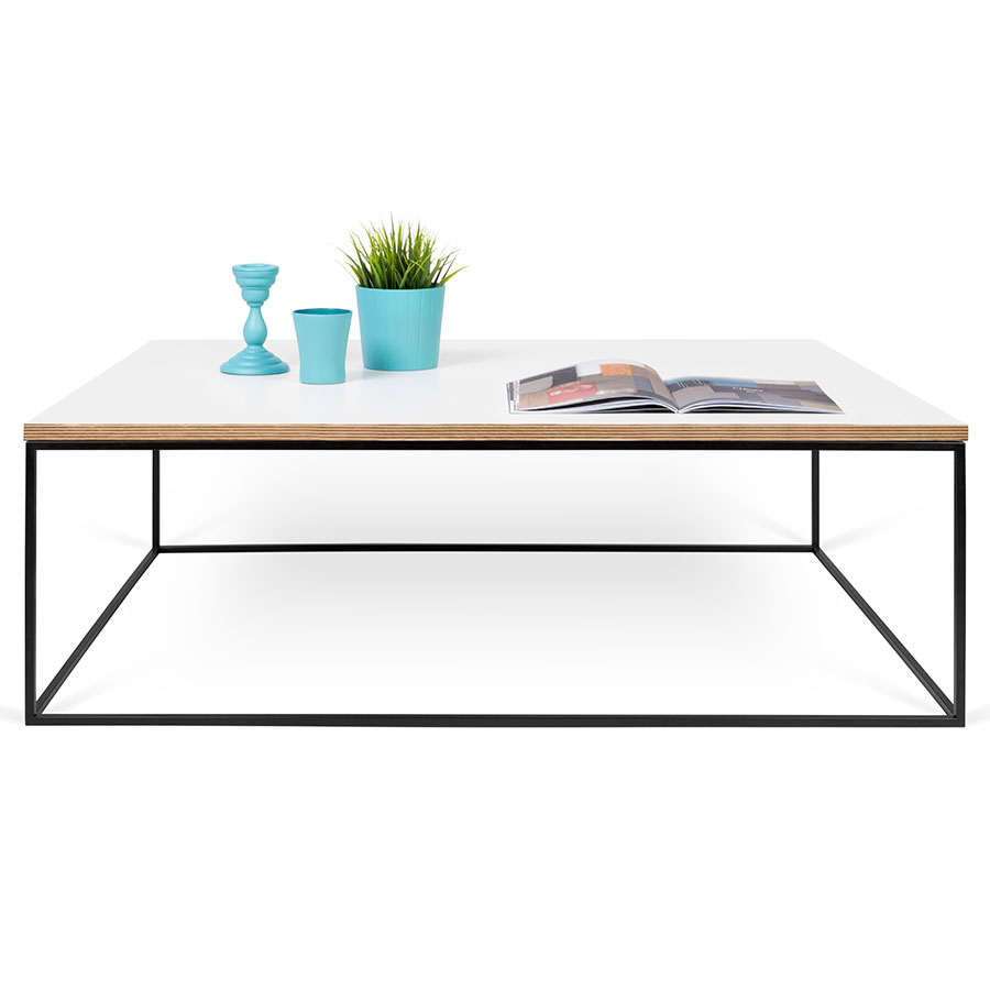 gleam white  black long modern coffee table  eurway -  coffee table · gleam white  ply top  black base modern rectangularcocktail table