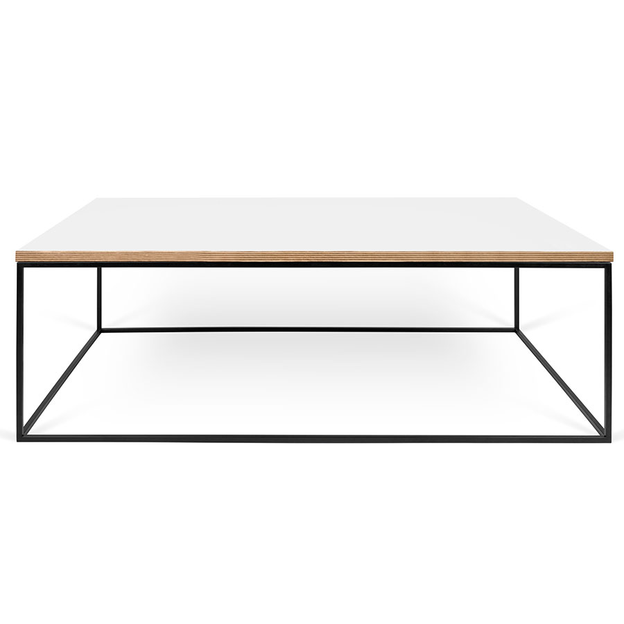 Gleam white black long modern coffee table eurway gleam white ply top black base contemporary rectangular coffee table geotapseo Images