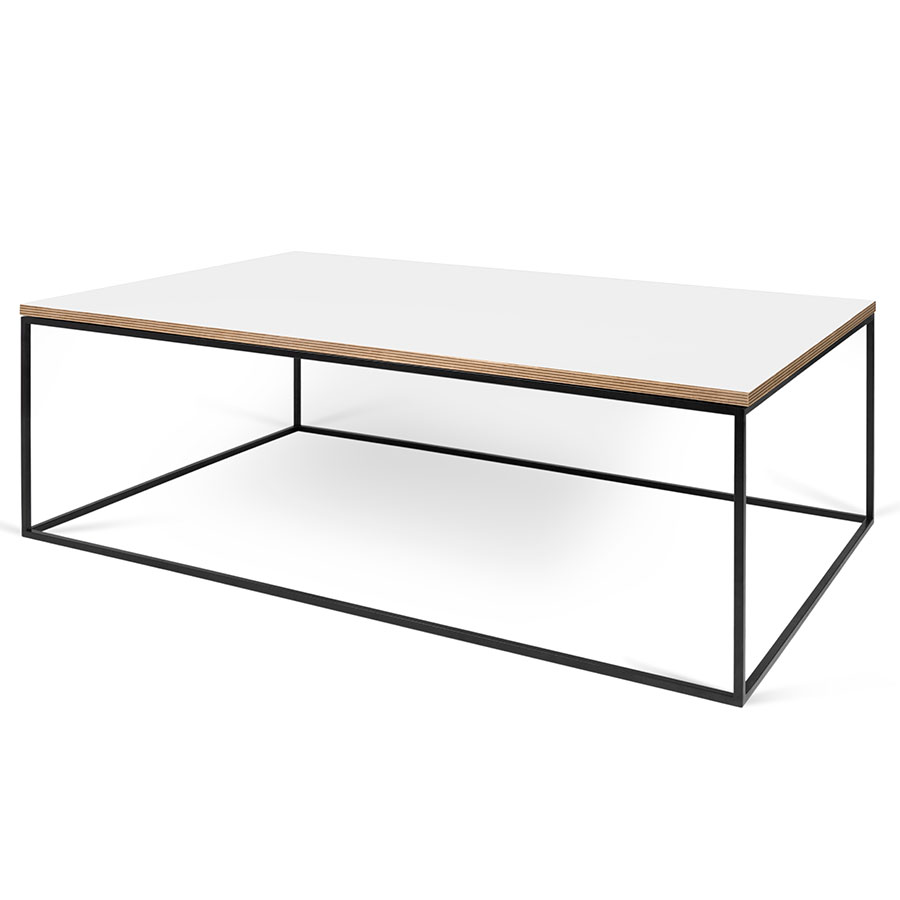 Kare Black Coffee Table: Gleam White + Black Long Modern Coffee Table By TemaHome