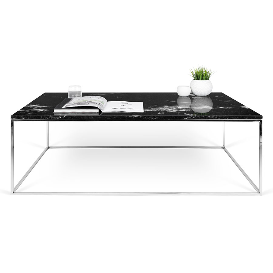 Found Square Coffee Table In Black Marble And Black Steel: TemaHome Gleam Black Marble + Chrome Rectangle Coffee