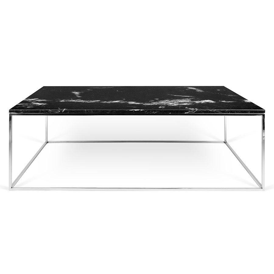 ... Gleam Black Marble Top + Chromed Metal Base Contemporary Coffee Table  ...