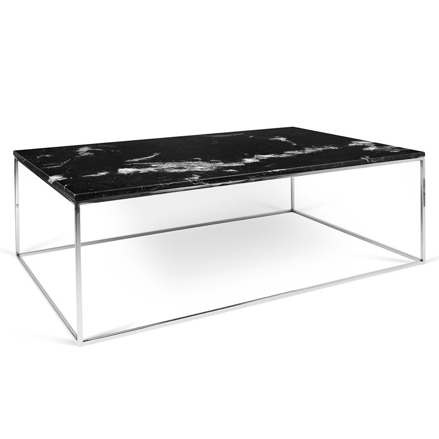 Gleam black marble chrome rectangle modern coffee table Black and chrome coffee table