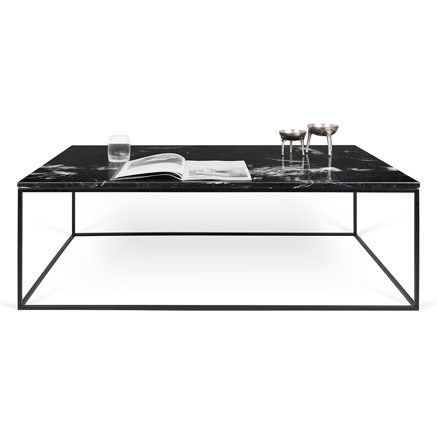 Gleam long black marble modern coffee table eurway gleam black marble top black metal base modern rectangular cocktail table geotapseo Images