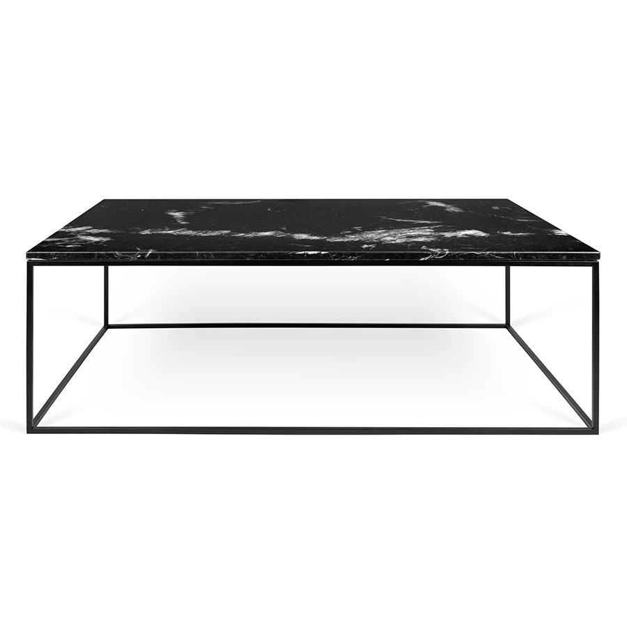 ... Gleam Black Marble Top + Black Metal Base Contemporary Rectangular Coffee  Table ...