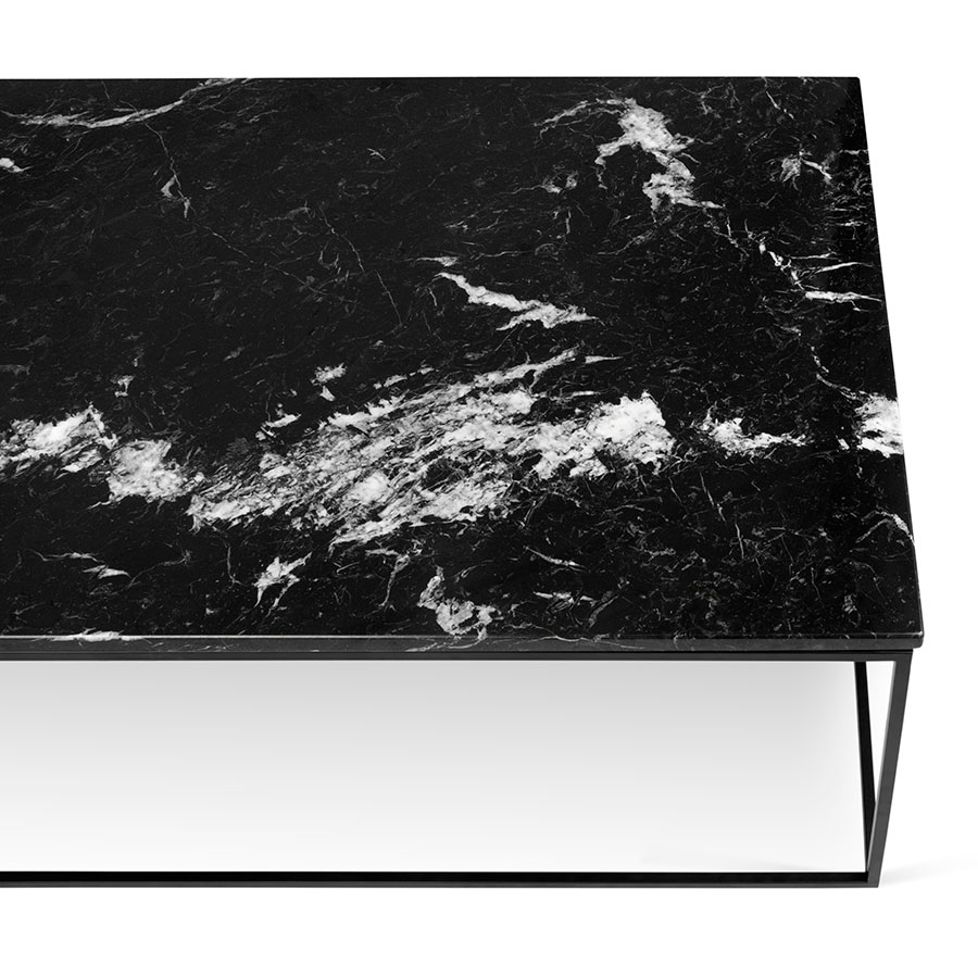 Found Square Coffee Table In Black Marble And Black Steel: TemaHome Gleam Long Black Marble Modern Coffee Table
