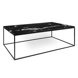 Gleam Black Marble Top + Black Metal Base Modern Rectangular Coffee Table