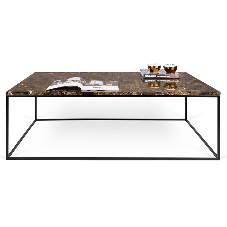 TemaHome Gleam Brown Marble Black Long Coffee Table Eurway - Long marble coffee table