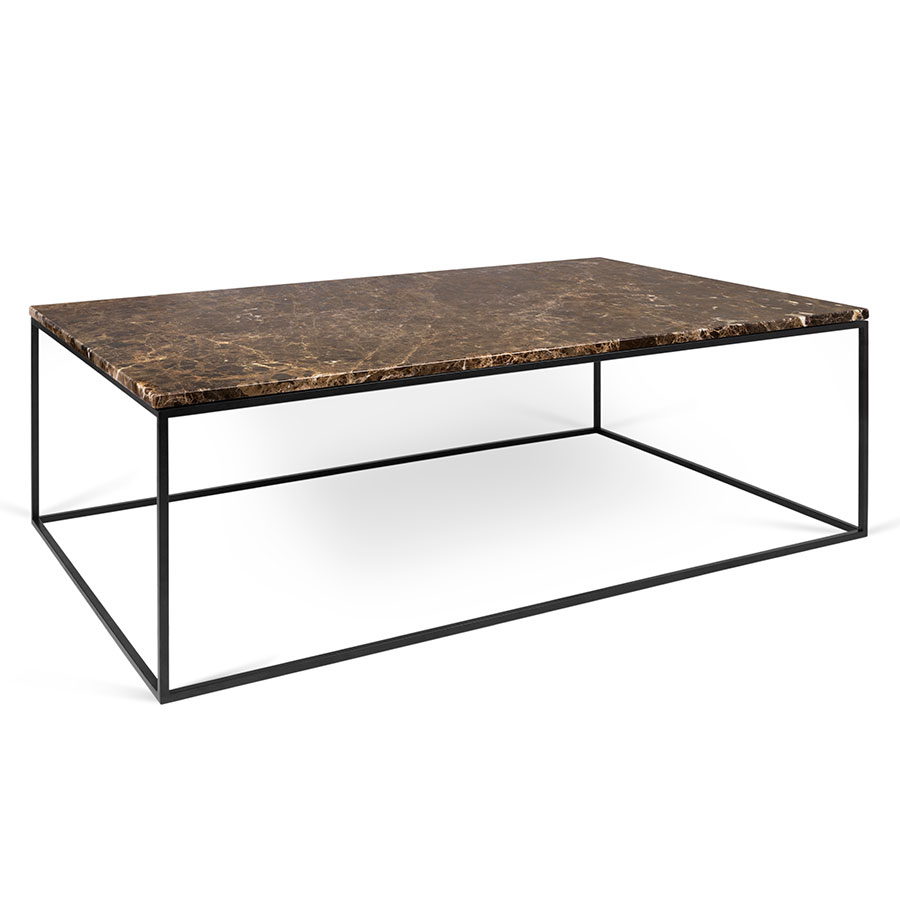 Call To Order Gleam Brown Marble Top Black Metal Base Rectangular Modern Coffee Table