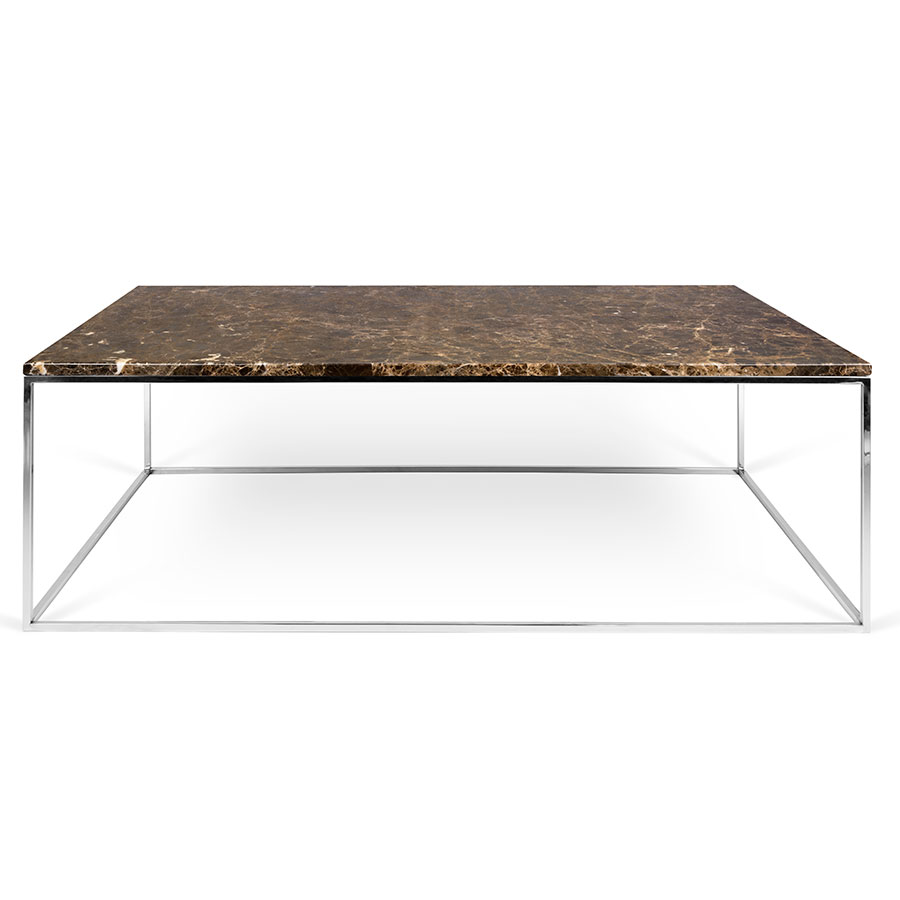 Gleam brown marble chrome long modern coffee table gleam brown marble top chrome metal base rectangular contemporary coffee table geotapseo Choice Image