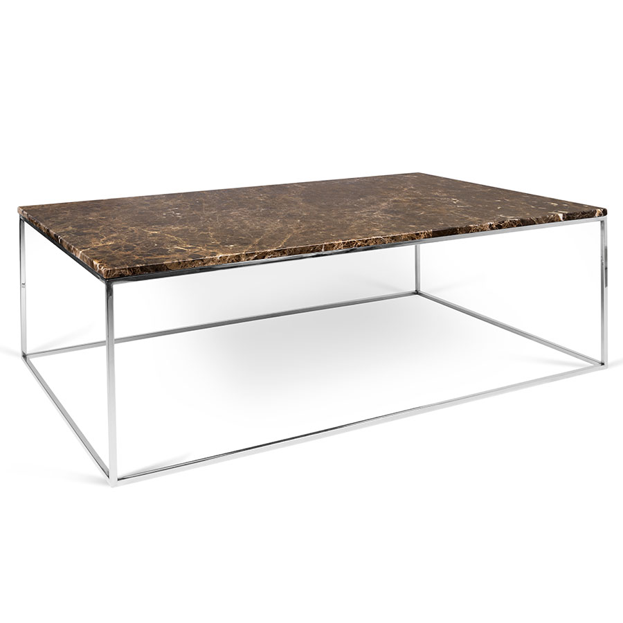 Gleam Brown Marble Chrome Long Modern Coffee Table