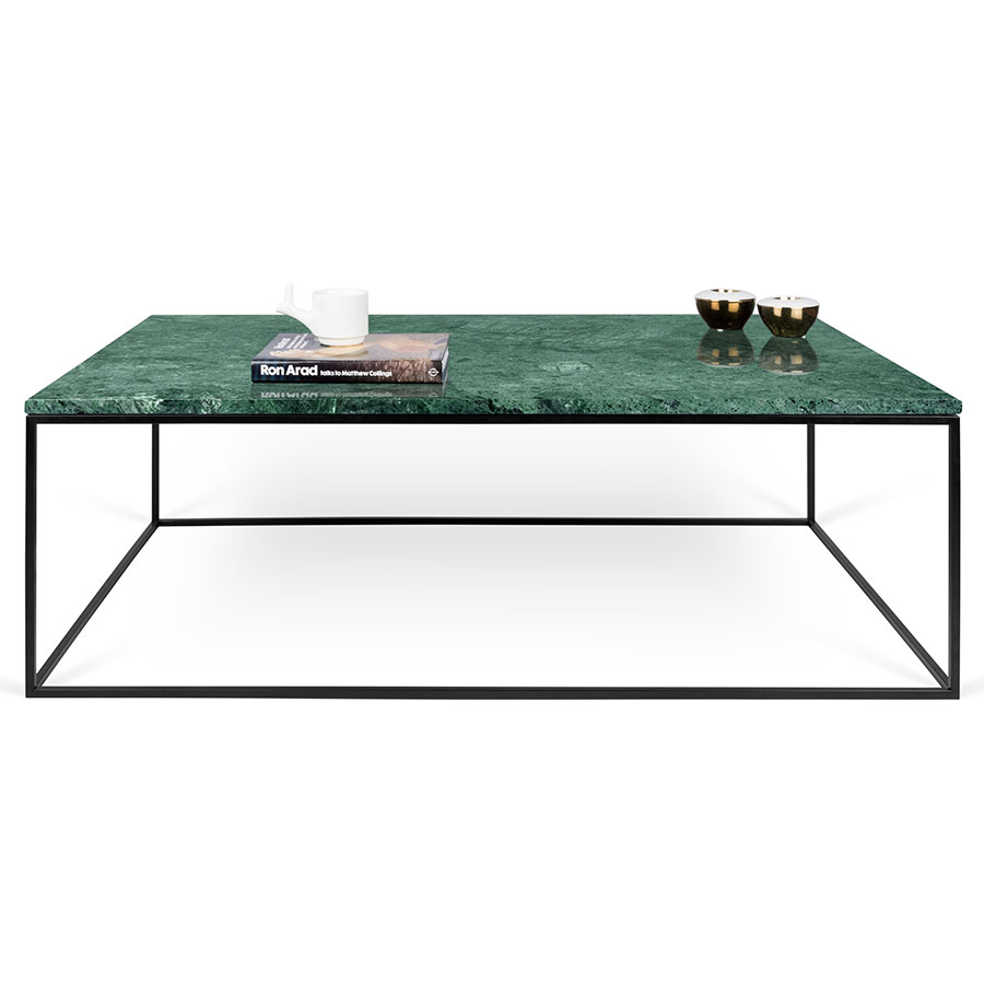 ... Gleam Green Marble Top + Black Metal Base Rectangular Contemporary Coffee  Table ...