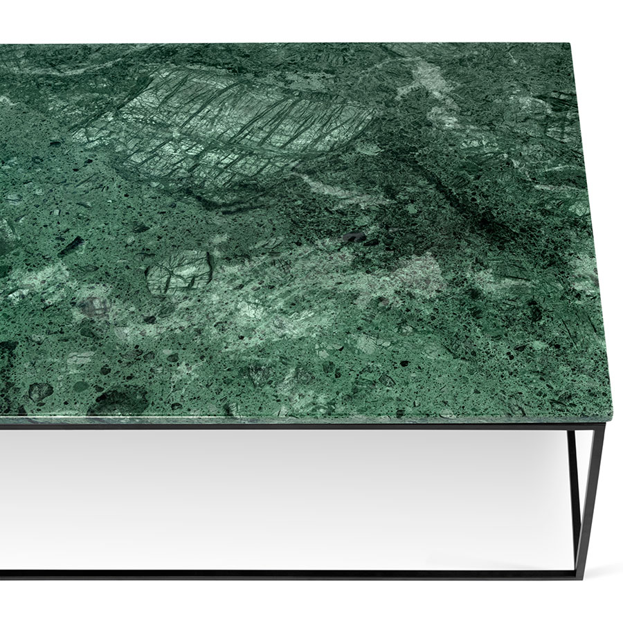 Attractive TemaHome Gleam Green Marble + Black Long Coffee Table |Eurway WX72