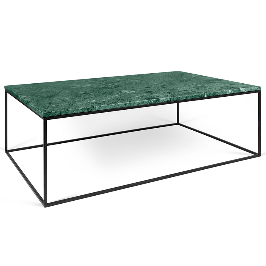 gleam green marble + black long modern coffee table