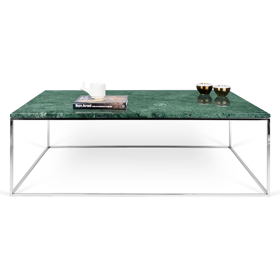 ... Coffee Table · Gleam Green Marble Top + Chrome Metal Base Rectangular  Modern Cocktail Table ...