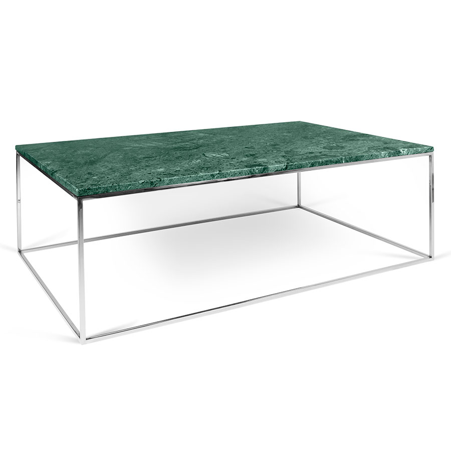 Gleam green marble chrome rectangle modern coffee table gleam green marble top chrome metal base rectangular modern coffee table geotapseo Images