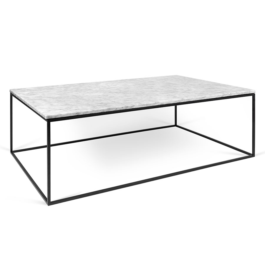 Perfect Gleam White Marble Top + Black Metal Base Rectangular Modern Coffee Table